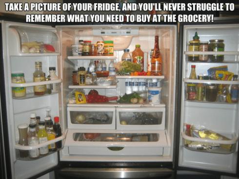 Einfach ein Foto von deinem Kühlschrank oder den Schränken machen und du brauchst keine Einkaufsliste mehr