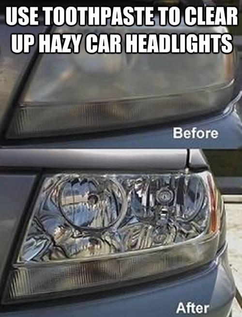 Mit Zahnpasta dreckige Autolampen reinigen
