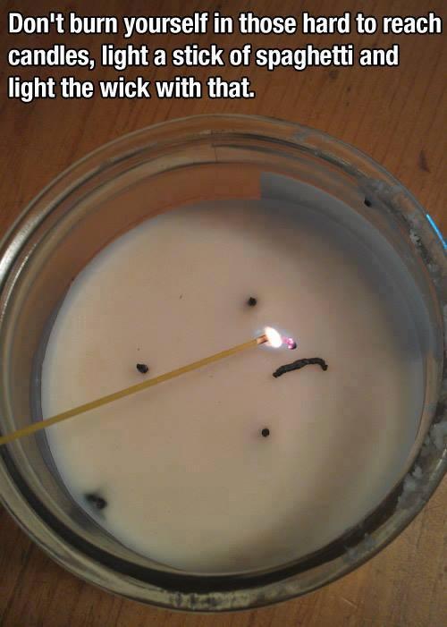 Nutze eine Spaghetti um Kerzen anzuzünden