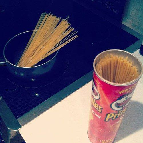 Pringelsdose für Spaghetti