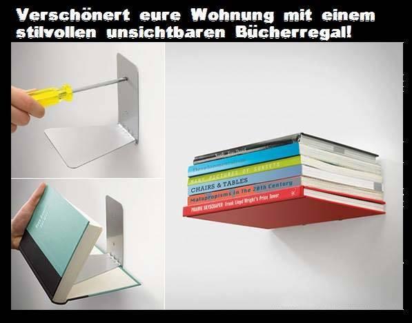 Schwebendes unsichtbares Bücherregal