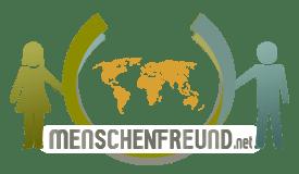 das logo von menschenfreund.net frau und mann halten die weltkugel fest